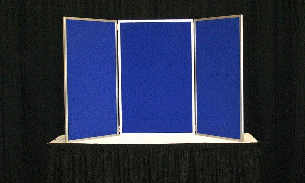 Blue - 3 Panel Table Display