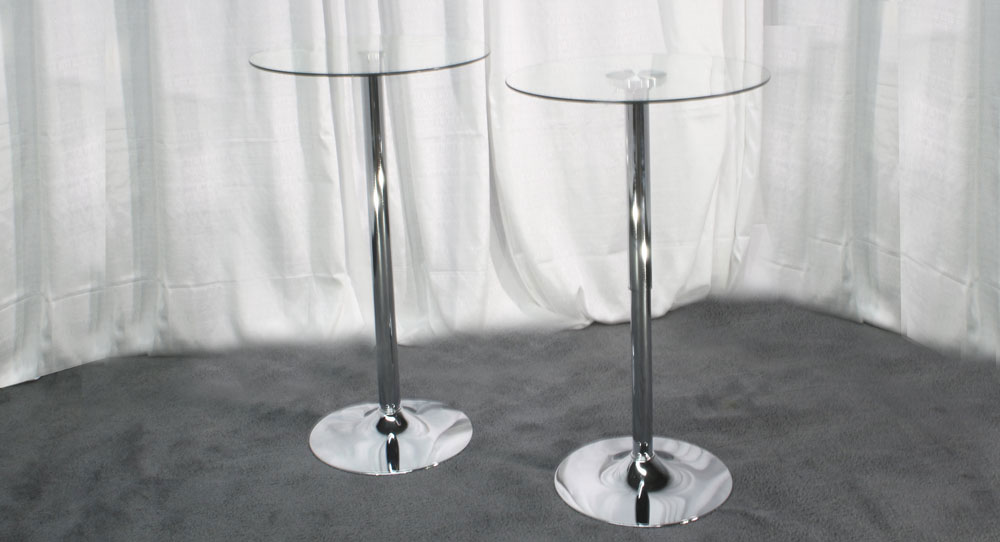 "24"" Round Glass Top at 42"" high"